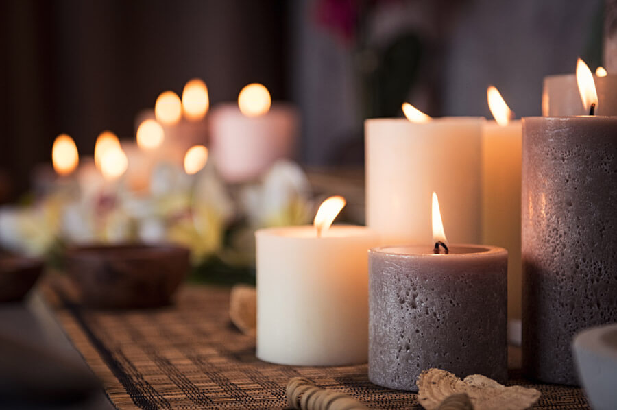 Variety of candles alight